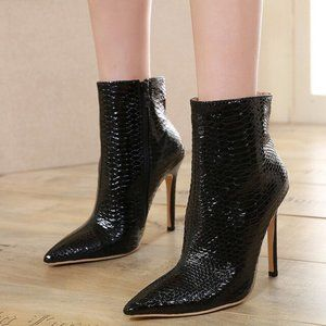 FSJ Pointed Toe High Stiletto Heel Boots Pumps
